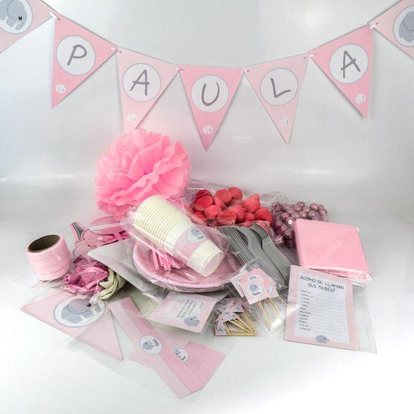 Este Baby Shower Fiesta Pack 15/20 personas encontrarás platos, vasos, decoración, chuches y todo lo necesrau¡io para la celebración de tu baby shower.