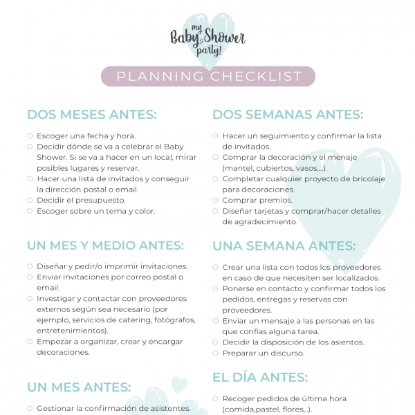 Baby Shower Planning Checking List